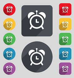 Alarm clock icon sign a set of 12 colored buttons vector