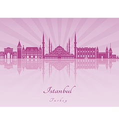 Istanbul skyline in purple radiant orchid vector