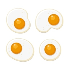 Fried eggs set flat style on white background vector