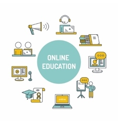 Online education set icon vector