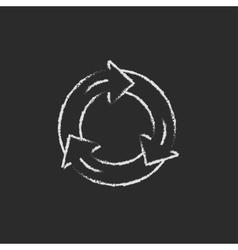 Arrows circle icon drawn in chalk vector image