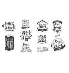 back to school monohrom labels vector image vector image