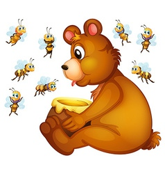 Bear and bees vector image vector image