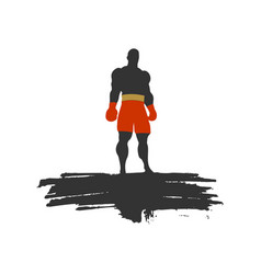 boxer silhouette sportsman posing vector image vector image