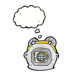 Cartoon old deep sea diver helmet with thought vector