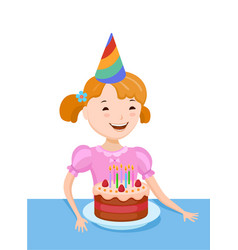 Celebrating the birthday cute cartoon girl vector