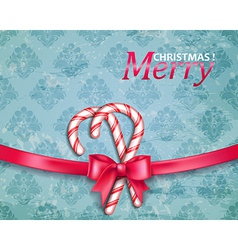 Christmas background with candy and bow vector image