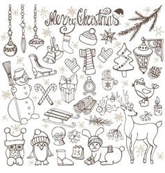 Christmas season doodle iconsanimalsretro vector