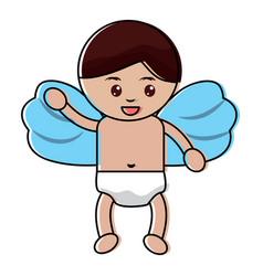 cute cupid flying hand waving cartoon vector image