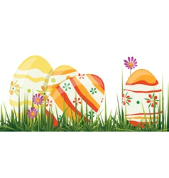 easter eggs in grass vector image