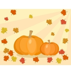 Fall with pumpkins and leaves vector