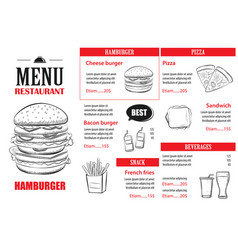 fast food menu design template restaurant or cafe vector image vector image