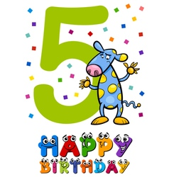 Fifth birthday card design vector