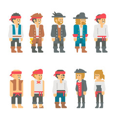 Flat design pirate characters set vector