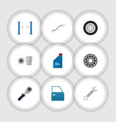 Flat icon auto set of petrol turnscrew ratchet vector