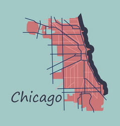 flat map chicago city illinois roads vector image