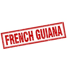 French guiana red square grunge stamp on white vector