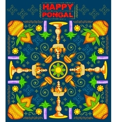 Happy pongal greeting background vector