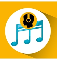 Head silhouette listening music quaver vector