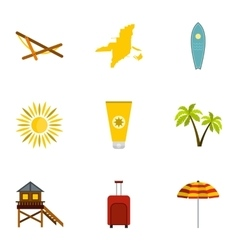 Holiday in miami icons set flat style vector