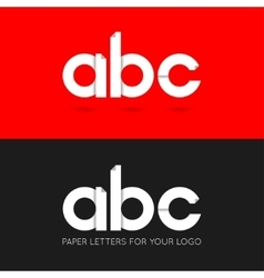 Letter a b c logo paper set background vector