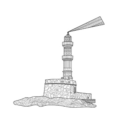 Lighthouse coloring for adults vector image vector image