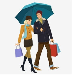 Loving couple under an umbrella vector