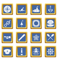 Nautical icons set blue vector