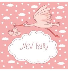 new baby stork flying with baby girl vector image