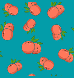 Seamless pattern peach on azure background vector