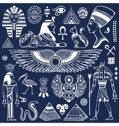 Set of isolated Egypt symbols vector image