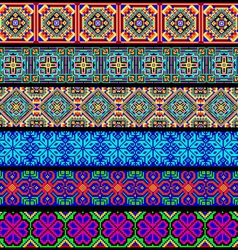 set of ornamental braid strips of colored geometri vector image vector image