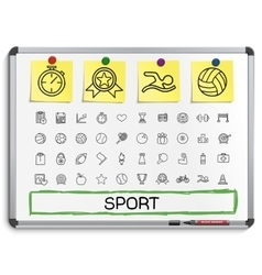 Sport hand drawing line icons vector image vector image