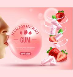 Strawberry bubble gum composition vector