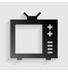 TV sign Black paper with shadow on vector image