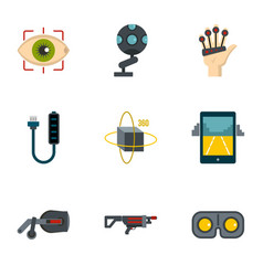 Vr game equipment icons set flat style vector
