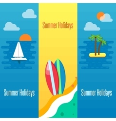 Summer holidays banner with surfboards on sand vector