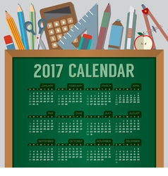 Education concept 2017 printable calendar vector