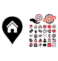 Realty map marker flat icon with bonus vector