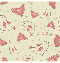 Seamless pattern with birds and hearts vector