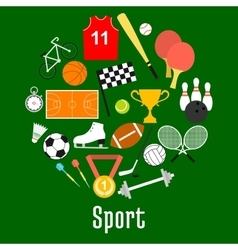 Sport symbols and sporting items round badge vector