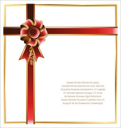 Gift card with red and gold ribbon background vector image
