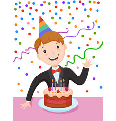 Celebrating the birthday cute cartoon boy vector