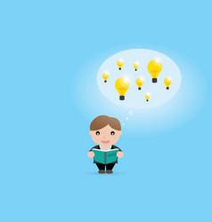 businessman open book to find idea vector image