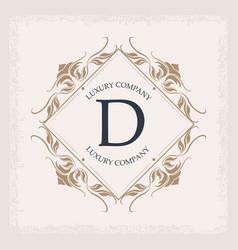 Luxury company d monogram business emblem heraldry vector