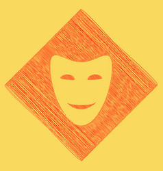 Comedy theatrical masks red scribble icon vector