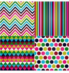 seamless stripes zigzag polka dot vector image