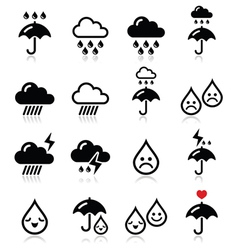 Rain thunderstorm heavy clouds icons set vector image