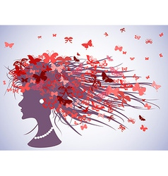 woman profile with butterflies hair vector image