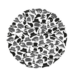 Various hats icons set in circle eps10 vector